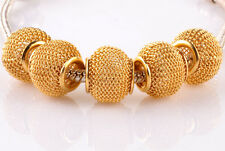 5pcs golden gauze hollow big hole spacer beads fit Charm European Bracelet #B940