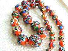 "vintage RED Murano Millefiori glass beads necklace  ~ Art Deco ~ 35"" long"
