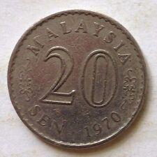 Malaysia 20 sen 1970 coin (A)