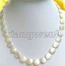 "SALE Big 13-14mm WHITE Natural freshwater COIN Round PEARL 17"" NECKLACE-nec0201"