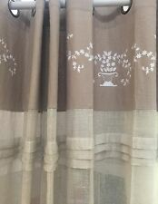 Angads French Provincial Linen Curtains Embroidered Shabby Chic Curtain Pair