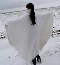 Hand knitted PONCHO Sweater hoody mohair Longhair 100% Goat Down fuzzy fluffy
