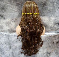 "33"" Wavy Blonde Brown Mix Long Lace Front Wig Heat Ok Hair Piece #8/27/613 NWT"