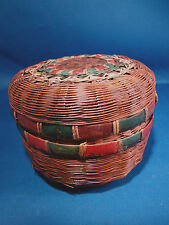 Small Round Vintage Woven Sewing Basket with Lid @H