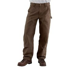 Dark Brown Carhartt Dungaree Jeans Double-Front, Washed Size 42x34 Pants Great!