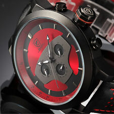 SHARK Mens Quartz Black Red Date Day Leather Stainless Steel Wrist Sport Watch