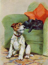 WIRE FOX TERRIER CHARMING DOG GREETINGS NOTE CARD BLACK CAT IN CHAIR
