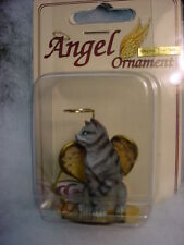 SILVER GRAY STRIPED TABBY kitty CAT ANGEL Ornament Figurine NEW Christmas kitten