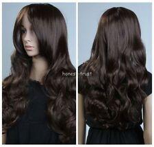 LMRAJF44 Women Long Curly Wavy Dark Brown Hair wigs for women