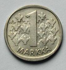 1982 FINLAND Coin - 1 Markka - AU - toned/streaks - lion animal wielding sword