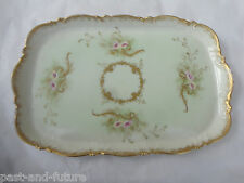 "ANTIQUE HAND PAINTED LIMOGES DRESSER VANTIY 12"" BY 8"" TRAY. MARKED AK"