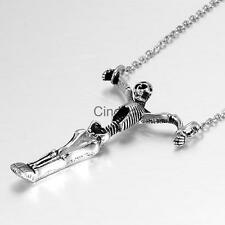 Vintage Silver Stainless Steel Skull Skeleton Bone Pendant Necklace Chain