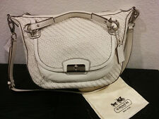 NEW Coach Leather Kristin Woven Round 19312 White Purse Handbag Double Bag NWT