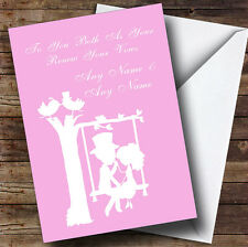 Pastel Pink Couple Eon Swing Personalised Renewal Of Vows Greetings Card