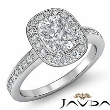 Halo Cushion Diamond Antique Style Engagement Ring GIA G Color SI1 Platinum 2 ct