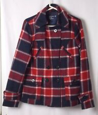 American Eagle Plaid Pea Coat Red White Blue Quilted Lining Wool Blend LG #4411