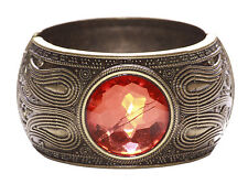 Sublime Bronze Detail & Orange Diamond Circle/Click On Hand Bangle(Ns13)