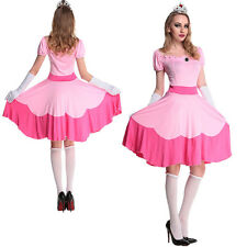 Women Fancy Mario Costume Princess Peach Halloween Cosplay Party Dress Outfits