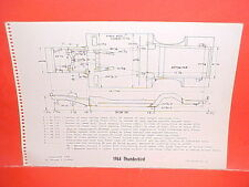 1964 FORD THUNDERBIRD SPORT ROADSTER CONVERTIBLE HARDTOP FRAME DIMENSION CHART