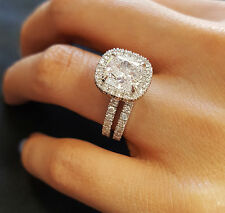 Conflict-Free 2.85 Ct Cushion Cut Diamond Engagement Bridal Set H, VVS1 GIA 14k