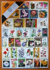 200 DIFFERENT THEMATIC USED MIXED STAMPS - FLOWERS