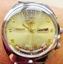 Gents SS Orient 21J Auto 46941 Movt Day Date Multi Calander Watch Service Warrty