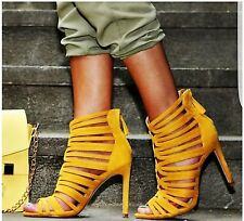 BNWT Zara Caged Mustard Yellow High Heeled Sandals Sold Out UK 5 EU 38 U.S. 7.5