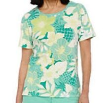 Alfred Dunner shirt size 3X Green, Yellow, White, Floral Print NWT
