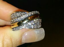 Two Tone Ring Sterling Silver & 9K Gold Size M hallmarked SAME DAY SHIPPING