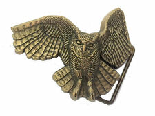 Vtg Solid Brass Owl Belt Buckle Animal Hoot Barn Flying Wing Bird Mens Womens