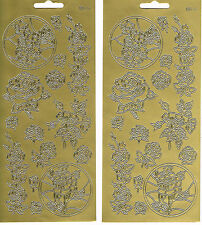 ROSES - GOLD ROSES 515 PEEL OFF STICKERS - 2 SHEETS