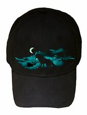 Waning Crescent Bright Night Moon Howling Wolf Black Adjustable Cap Hat New