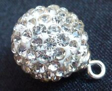 Crystal Disco Ball Shamballa Bead with Sterling Silver Bead Cap and Loop Charm