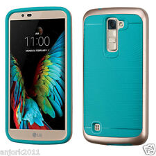 TEAL/ROSE GOLD SHOCKPROOF SLIM LINE COVER+PC BUMPER CASE FOR LG K10 PREMIER LTE