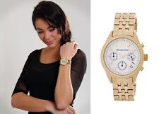 New + Box women's MICHAEL KORS MK6132 RITZ Gold Tone Steel Watch Chrono