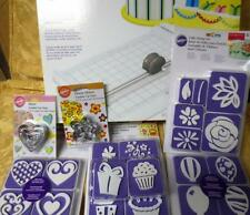 Lot of New Wilton Slide-N-Cut Edge Cutter for Fondant Cutters & Cake Stamp Sets