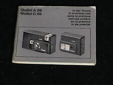 Vintage Rollei A 26 / C 26 In Practical Use Camera & Flash Instruction Manual