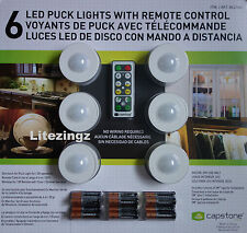 6 LED Puck Lights, Remote Control & Batteries Wireless Wardrobe Caravan Shed etc
