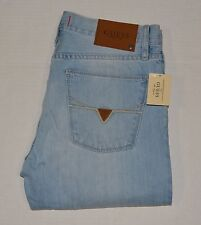 New Men's sz 33 GUESS Ryan Slim Straight Jeans DEL MAR FIT - Light Wash