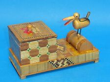 WHIMSICAL MID CENTURY JAPANESE EXOTIC WOOD INLAY CIGARETTE DISPENSER BOX