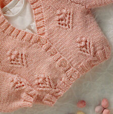 "Baby Cardigan Raglan Eyelet & Bobble Flower ~  16"" - 22"" DK  Knitting Pattern"