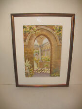 F Caronia Italian 20thc Watercolor Mediterranean garden flowers signed..
