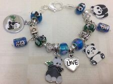 **Handmade Blue & Green Luxury Chunky PANDA Murano Glass Bead Charm Bracelet*