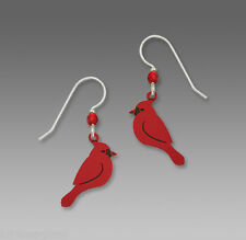 Sienna Sky Red CARDINAL EARRINGS STERLING Silver Earwires Bird Side View - Boxed