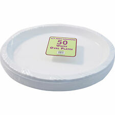 50 x WHITE PLASTIC PLATES OVAL 26cm SERVING TABLEWARE PARTY PLATE DISPOSABLE NEW