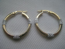 9ct yellow gold with white diamond cut sections hoop earrings