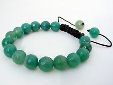 Men's Shamballa bracelet all 10mm  Natural Green Agate stone Beads faceted