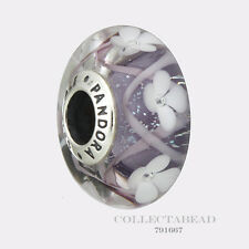 Authentic Pandora Silver Murano Purple Field of Flowers Bead 791667 *SPRING 2017
