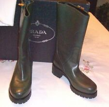 NEW  PRADA  CALZATURE DONNA  FOREST GREEN  SOFT CALF BOOTS  SIZE  10  (EURO 40)