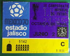 1970 WORLD CUP MEXICO USED MATCH TICKET. ROMANIA VS. ENGLAND  ESTADIO JALISCO